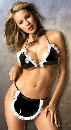 pvc french maid lingerie costume